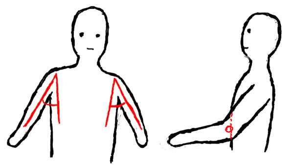 Arme leicht vom Körper entfernt, Ellenbogen vor dem Körper